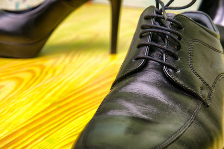 Mens and womens elegant leather shoes Stock Photo