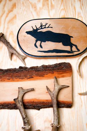 antlers: Deer antlers and handmade cutting board