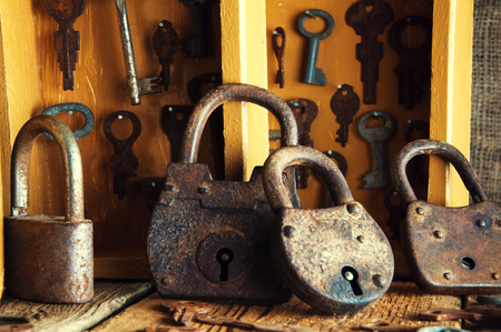 Boxes with old keys and padlocks