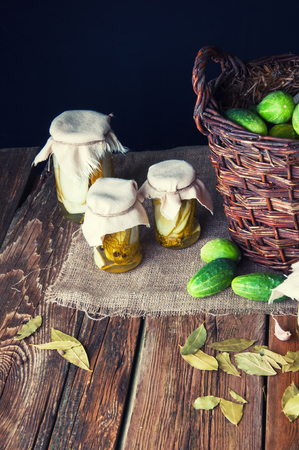 marinated gherkins: Pickles in jars for the winter