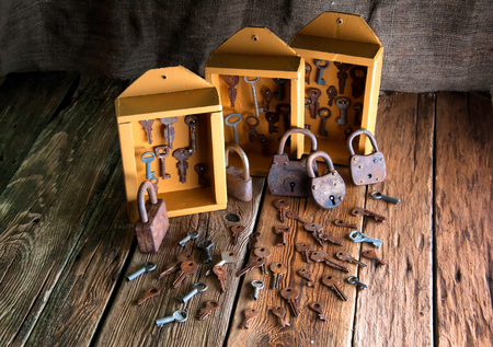 key cabinet: Boxes with old keys and padlocks
