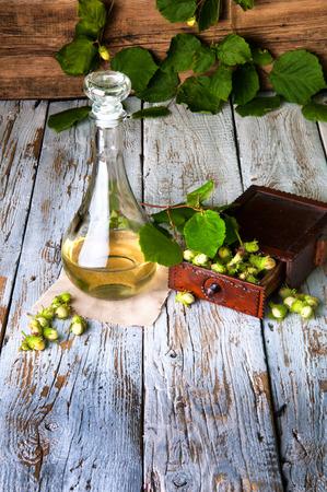 liqueur: Homemade hazelnut tincture liqueur Stock Photo