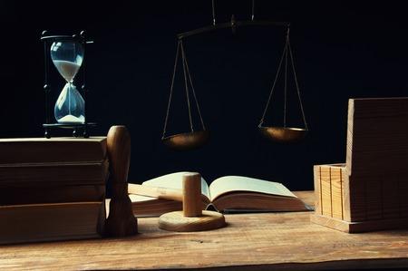 verdict: Desk of judge issuing the verdict Stock Photo