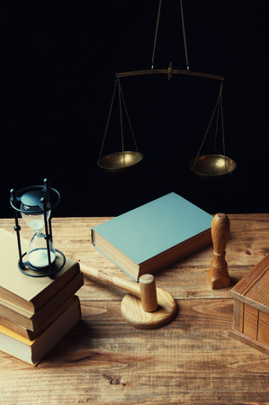 Desk of judge issuing the verdict Stock Photo