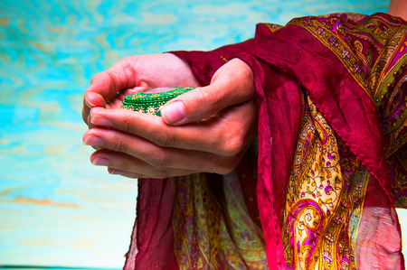 conglomeration: Womans hands holding green oriental casket Stock Photo