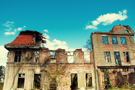 abandoned factory: Old abandoned ruins on country Stock Photo