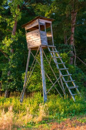 Wooden pulpit for hunting Standard-Bild