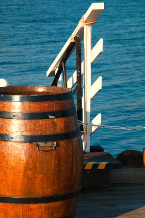 Wooden barrel on ship