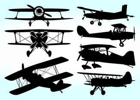 Biplane Aircraft Vector Illustration Silhouette