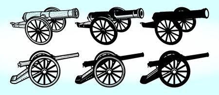 Old ship Gun | War | Weapon | Cannon Vector Illustration Silhouette