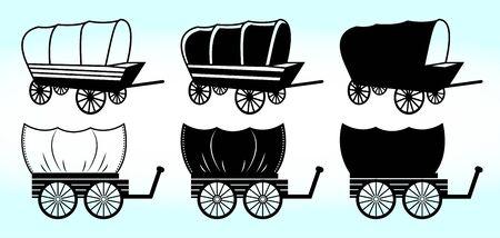 Zigeunercaravan | Zigeunerwagen Vector Illustratie Silhouet