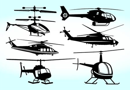 Military Helicopter Vector Illustration Silhouette Vettoriali