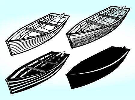 Barco de madera con una silueta de ilustración de vector de venta ambulante