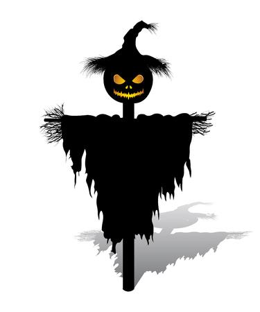 pumpkin patch: vector halloween scarecrow with pumpkin for head