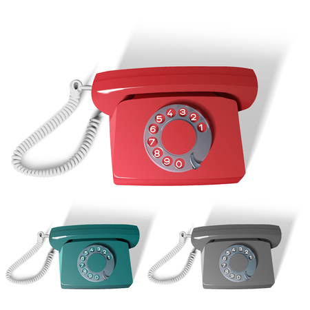 dialer: vector retro phone in different colors