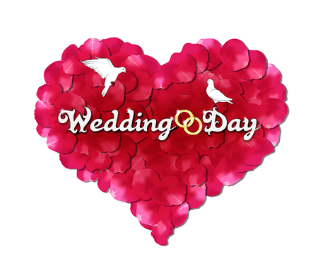 hearty: Wedding day, the heart of rose petals, doves and rings Illustration