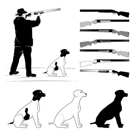 huntsman: sighting hunter, a dog and a gun silhouettes