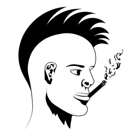 pipe smoking: A guy with a cigarette Illustration