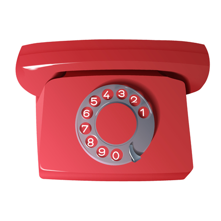 dialer: vector retro phone in red colors