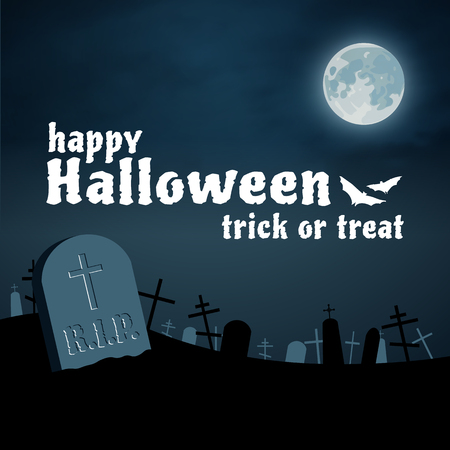tomb: Happy Halloween night cemetery vector background, moon and tomb