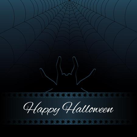 spider web: Happy Halloween dark background with web and silhouette spider