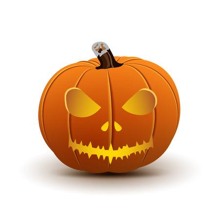 haunting: Pumpkin Halloween Isolated on White, Vector illustration