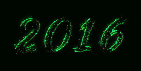 new years resolution: New year 2016 text design of green lights on dark background
