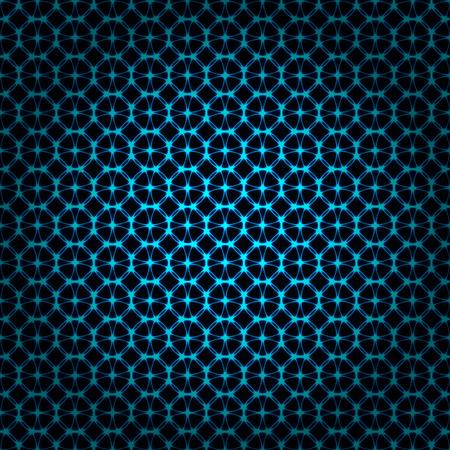 Azure lights abstract geometric shape on dark background