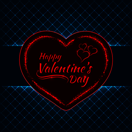 azure: Happy Valentines day azure lights card, heart and text lights design on dark background