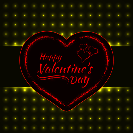 holiday light: Happy Valentines day yellow lights card, heart and text lights design on dark background Illustration