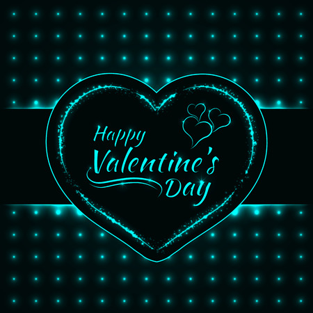 Happy Valentines Day Aqua Lights Card Heart And Text Lights