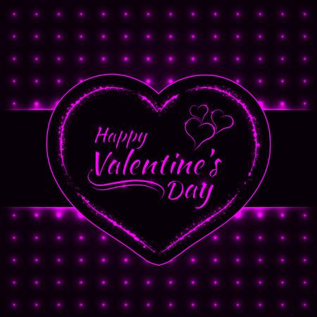 magenta: Happy Valentines day magenta lights card, heart and text lights design on dark background