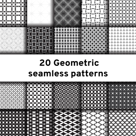 repetition: Set of 20 monochrome seamless patterns. Universal different vector patterns. Geometric ornaments. Collection black and white vector backgrounds. Illustration