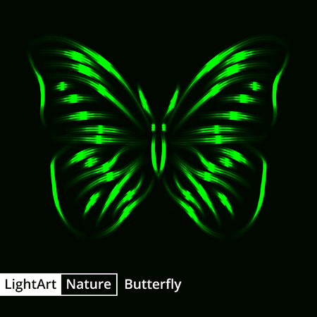 green butterfly: Butterfly silhouette of green lights on black background