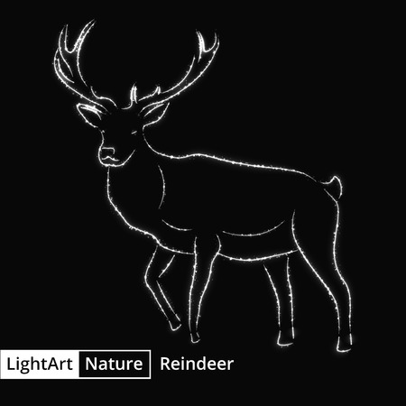 abstract animal: Reindeer silhouette of gray lights on black background
