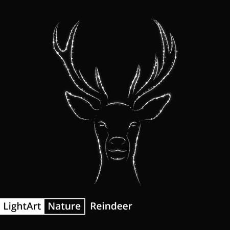 reindeer silhouette: Reindeer silhouette of gray lights on black background