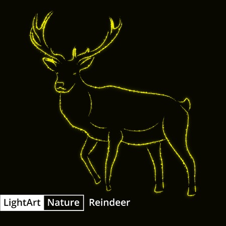 Reindeer silhouette of yellow lights on black background