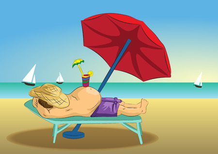 Summer illustration for beach Holidays. Fat man relaxing at the resort.
