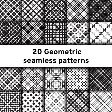 Conjunto de 20 patrones inconsútiles monocromáticos. Patrones de vector diferentes universales. Adornos geométricos. Fondos de vector blanco y negro de colección.