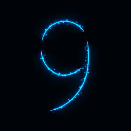 azure: Number symbol of azure lights on dark background