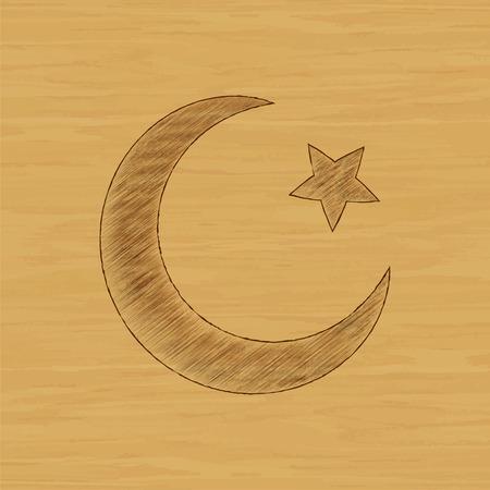 Star and crescent - symbol of Islam icon Illustration