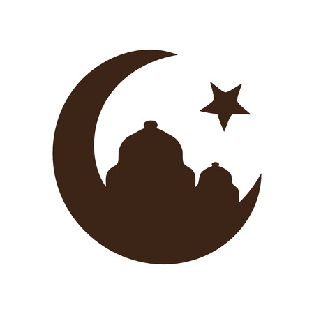 cresent: Star and crescent - symbol of Islam icon Illustration