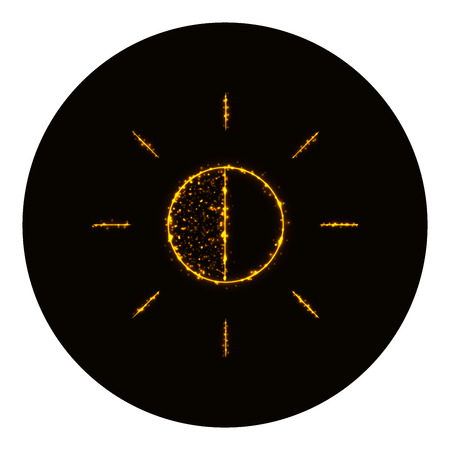 brightness: Brightness icon silhouette of gold lights on black background. Neon vector icon Illustration