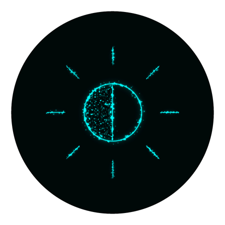 brightness: Brightness icon of cyan lights on black background. Neon vector icon