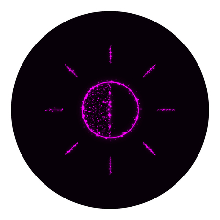brightness: Brightness icon of purple lights on black background. Neon vector icon Illustration