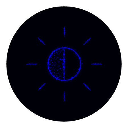 brightness: Brightness icon of navy lights on black background. Neon vector icon
