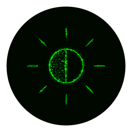 brightness: Brightness icon of green lights on black background. Neon vector icon
