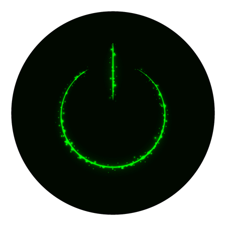 green power: Power icon of green lights on black background. Neon vector icon