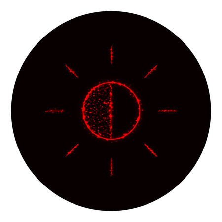 brightness: Brightness icon of red lights on black background. Neon vector icon Illustration