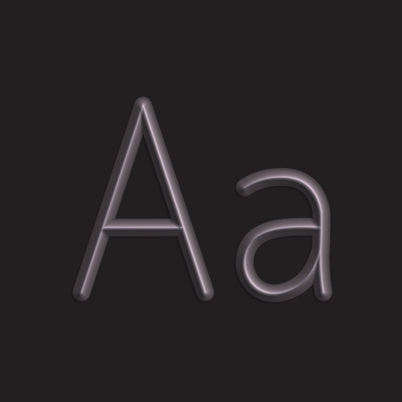 smooth shadow: Alphabet letters of black color lights, 3d line with smooth shadow Illustration